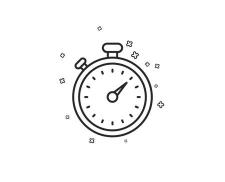 Timer line icon. Stopwatch symbol. Time management sign. Geometric shapes. Random cross elements. Linear Timer icon design. Vector