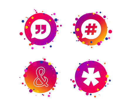Quote, asterisk footnote icons. Hashtag social media and ampersand symbols. Programming logical operator AND sign. Speech bubble. Gradient circle buttons with icons. Random dots design. Vector