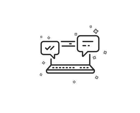 Internet Messages line icon.  Chat or Conversation sign. Computer communication symbol. Geometric shapes. Random cross elements. Linear Internet Chat icon design. Vector