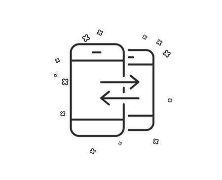 Phone Communication line icon. Incoming and Outgoing call sign. Conversation or SMS symbol. Geometric shapes. Random cross elements. Linear Phone Communication icon design. Vector