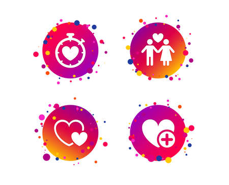 Valentine day love icons. Love heart timer symbol. Couple lovers sign. Add new love relationship. Gradient circle buttons with icons. Random dots design. Vector Illusztráció