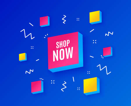 Shop now symbol. Special offer sign. Retail Advertising. Isometric cubes with geometric shapes. Creative shopping banners. Template for design. Vector