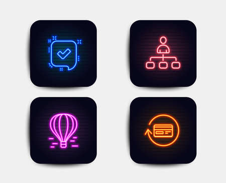 Neon glow lights. Set of Air balloon, Confirmed and Management icons. Refund commission sign. Flight travel, Accepted message, Agent. Cashback card.  Neon icons. Glowing light banners. Vector