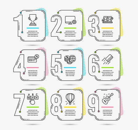 Infographic template with numbers 9 options. Set of Air balloon, Award cup and Credit card icons. Correct checkbox, World money and Monitor settings signs. Vector Illustration