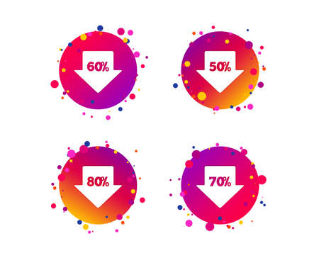 Sale arrow tag icons. Discount special offer symbols. 50%, 60%, 70% and 80% percent discount signs. Gradient circle buttons with icons. Random dots design. Vector Illustration