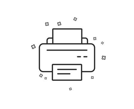 Printer icon. Printout Electronic Device sign. Office equipment symbol. Geometric shapes. Random cross elements. Linear Printer icon design. Vector 向量圖像