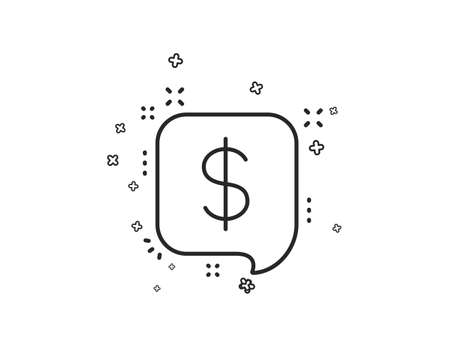 Payment received line icon. Dollar sign. Finance symbol. Geometric shapes. Random cross elements. Linear Payment message icon design. Vector