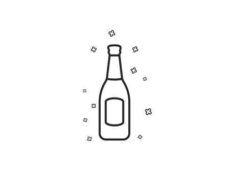 Beer bottle line icon. Pub Craft beer sign. Brewery beverage symbol. Geometric shapes. Random cross elements. Linear Beer icon design. Vector