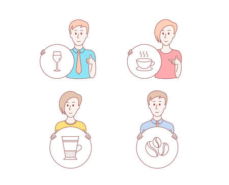 People hand drawn style. Set of Cappuccino, Double latte and Wine glass icons. Coffee-berry beans sign. Espresso cup, Tea cup, Bordeaux glass. Coffee beans.  Character hold circle button. Vector