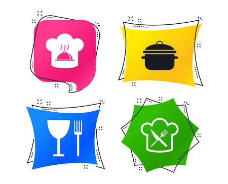 Chief hat and cooking pan icons. Crosswise fork and knife signs. Boil or stew food symbols. Geometric colorful tags. Banners with flat icons. Trendy design. Vector