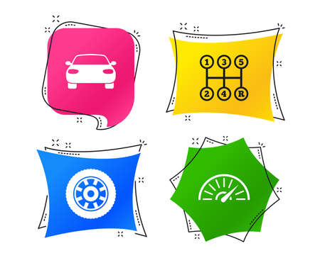 Transport icons. Car tachometer and mechanic transmission symbols. Wheel sign. Geometric colorful tags. Banners with flat icons. Trendy design. Vector Illustration