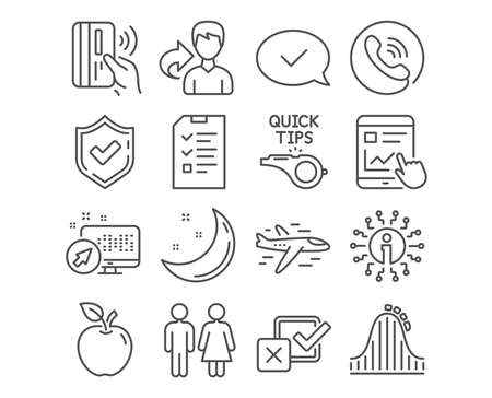 Set of Approved message, Restroom and Tutorials icons. Roller coaster, Contactless payment and Airplane signs. Checkbox, Interview and Internet report symbols. Accepted chat, Wc toilet, Quick tips 일러스트