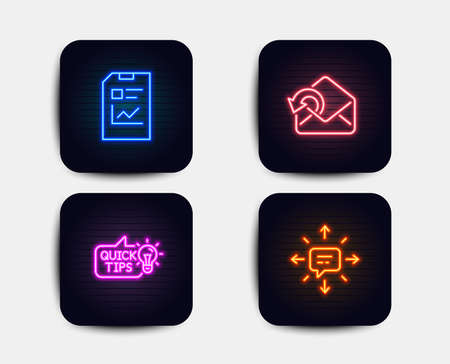 Neon glow lights. Set of Send mail, Education idea and Report document icons. Sms sign. Sent message, Quick tips, Statistics file. Conversation.  Neon icons. Glowing light banners. Vector