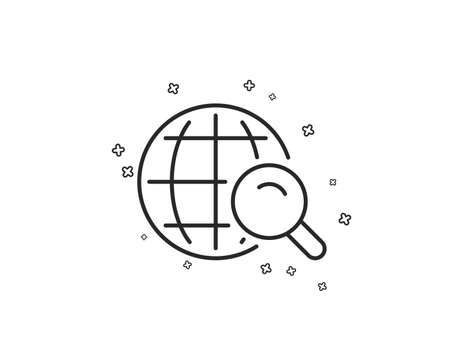 Global Search line icon. World or Globe sign. Website search engine symbol. Geometric shapes. Random cross elements. Linear Internet Search icon design. Vector Banque d'images - 124794308