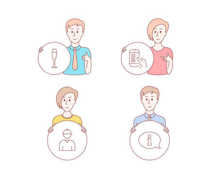 People hand drawn style. Set of Champagne glass, Engineer and Mobile survey icons. Information sign. Winery, Worker profile, Phone quiz test. Info center.  Character hold circle button. Vector Illustration