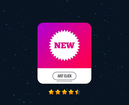 New sign icon. New arrival star symbol. Web or internet icon design. Rating stars. Just click button. Vector Ilustracja
