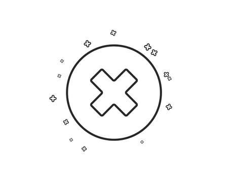 Liniensymbol löschen. Schild entfernen. Abbrechen- oder Schließen-Symbol. Geometrische Formen. Zufällige Kreuzelemente. Lineares Schließen-Schaltflächen-Icon-Design. Vektor