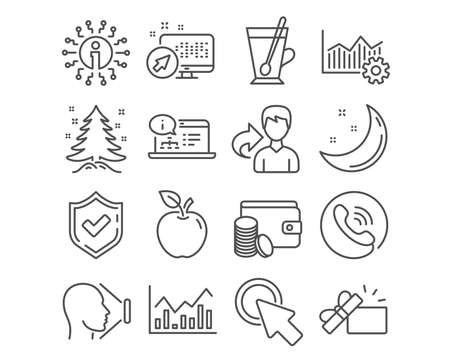 Set of Tea mug, Christmas tree and Face id icons. Operational excellence, Infochart and Payment method signs. Click here, Online documentation and Opened gift symbols. Vector Banco de Imagens - 124794313