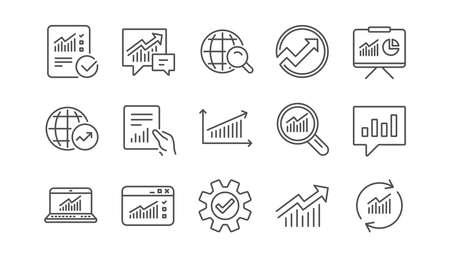 Iconos de línea de análisis. Informes, cuadros y gráficos. Conjunto de iconos lineal de estadísticas de datos. Vector