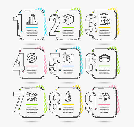 Infographic template with numbers 9 options. Set of Parcel checklist, Parking and Rocket icons. Package, Return parcel and Roller coaster signs. Taxi, Truck delivery and Push cart symbols. Vector Standard-Bild - 124794317