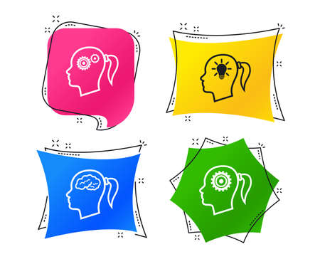 Head with brain and idea lamp bulb icons. Female woman think symbols. Cogwheel gears signs. Geometric colorful tags. Banners with flat icons. Trendy design. Vector