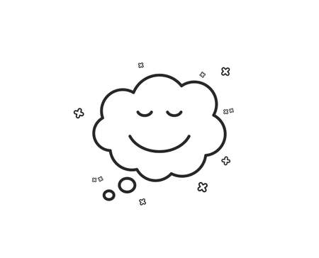 Comic speech bubble with Smile line icon. Chat emotion sign. Geometric shapes. Random cross elements. Linear Speech bubble icon design. Vector