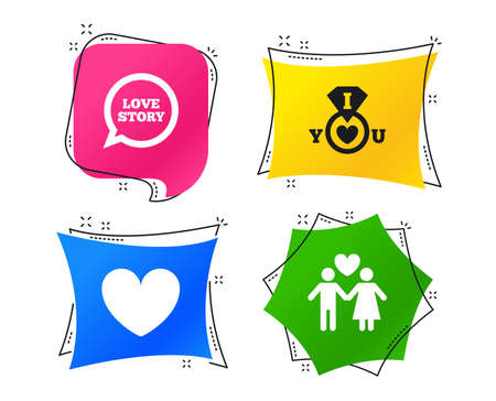 Valentine day love icons. I love you ring symbol. Couple lovers sign. Love story speech bubble. Geometric colorful tags. Banners with flat icons. Trendy design. Vector