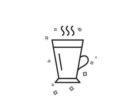 Latte line icon. Hot Coffee or Tea sign. Fresh beverage symbol. Geometric shapes. Random cross elements. Linear Latte icon design. Vector