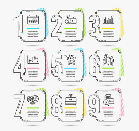 Infographic timeline set of Calendar, Income money and Salary icons. Contactless payment, Cross sell and Bar diagram signs. Vector
