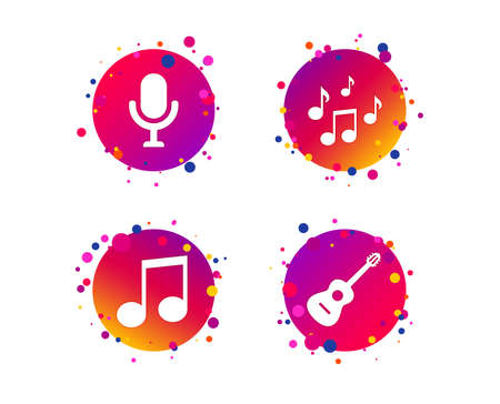 Music icons. Microphone karaoke symbol. Music notes and acoustic guitar signs. Gradient circle buttons with icons. Random dots design. Vector