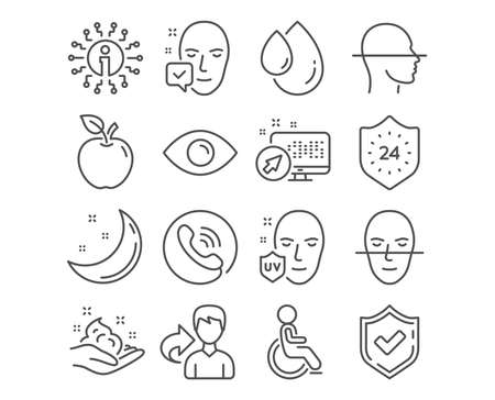 Set of 24 hours, Skin care and Face scanning icons. Uv protection, Face accepted and Oil drop signs. Eye, Disabled symbols. Protection, Hand cream, Faces detection. Vector Ilustrace