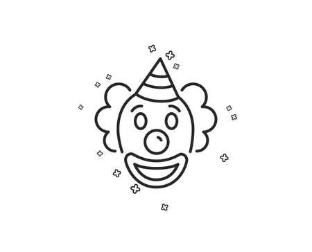 Clown line icon. Amusement park funnyman sign. Geometric shapes. Random cross elements. Linear Clown icon design. Vector