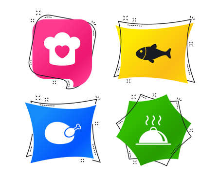 Chief hat with heart and cooking pan icons. Fish and chicken signs. Hot food platter serving symbol. Geometric colorful tags. Banners with flat icons. Trendy design. Vector