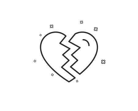 Break up Love line icon. Divorce sign. Valentines day symbol. Geometric shapes. Random cross elements. Linear Break up icon design. Vector