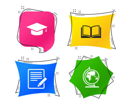 Pencil with document and open book icons. Graduation cap and geography globe symbols. Learn signs. Geometric colorful tags. Banners with flat icons. Trendy design. Vector