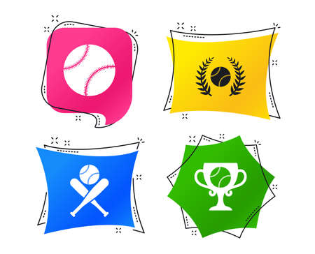Baseball sport icons. Ball with glove and two crosswise bats signs. Winner award cup symbol. Geometric colorful tags. Banners with flat icons. Trendy design. Vector Illustration