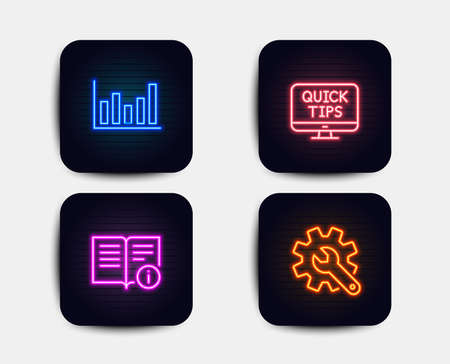 Neon set of Column chart, Technical info and Web tutorials icons. Customisation sign. Financial graph, Documentation, Quick tips. Settings. Neon icons. Glowing light banners. Vector