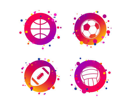 Sport balls icons. Volleyball, Basketball, Soccer and American football signs. Team sport games. Gradient circle buttons with icons. Random dots design. Vector Stock Vector - 124794343
