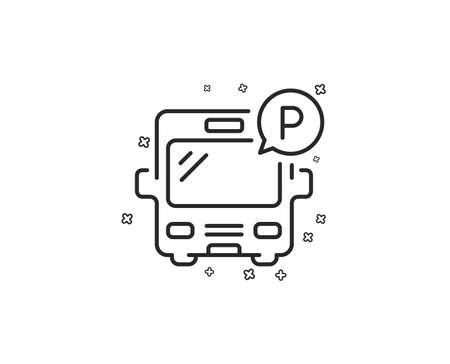 Bus parking line icon. Auto park sign. Transport place symbol. Geometric shapes. Random cross elements. Linear Bus parking icon design. Vector