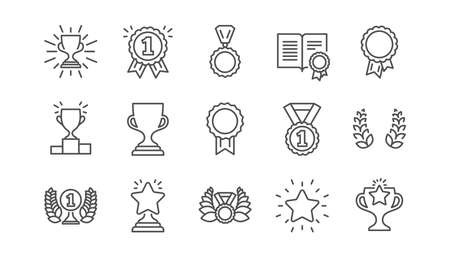 Award line icons. Winner medal, Victory cup and Trophy reward. Achievement linear icon set.  Vector Vettoriali