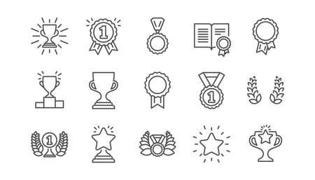 Icone della linea di aggiudicazione. Medaglia del vincitore, coppa della vittoria e premio del trofeo. Insieme dell'icona lineare di successo. Vettore Vettoriali
