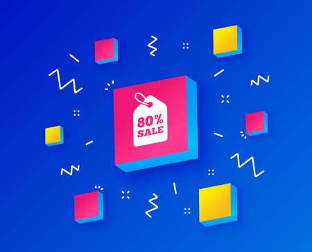 80% sale price tag sign icon. Discount symbol. Special offer label. Isometric cubes with geometric shapes. Creative shopping banners. Template for design. Vector Illustration