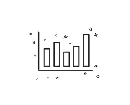 Column chart line icon. Financial graph sign. Stock exchange symbol. Business investment. Geometric shapes. Random cross elements. Linear Column chart icon design. Vector