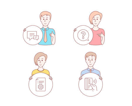 People hand drawn style. Set of Comment, Technical documentation and Question mark icons. Contactless payment sign. Talk bubbles, Manual, Help support. Bank money.  Character hold circle button Illustration