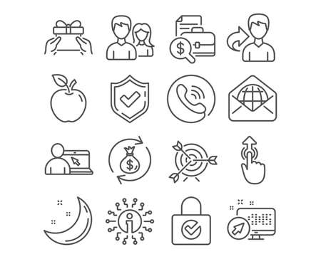 Set of Couple, Online education and Web mail icons. Accounting report, Swipe up and Money exchange signs. Target, Password encryption and Give present symbols. Vector