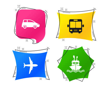 Transport icons. Car, Airplane, Public bus and Ship signs. Shipping delivery symbol. Air mail delivery sign. Geometric colorful tags. Banners with flat icons. Trendy design. Vector Stock Illustratie
