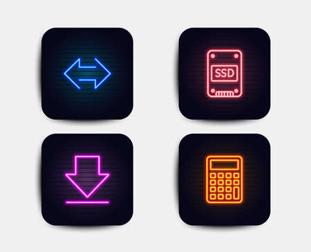 Neon glow lights. Set of Sync, Downloading and Ssd icons. Calculator sign. Synchronize, Load information, Solid-state drive. Accounting device.  Neon icons. Glowing light banners. Vector 일러스트