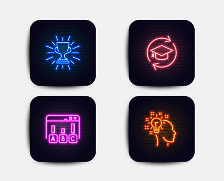 Neon set of Continuing education, Trophy and Survey results icons. Idea sign. Online education, Winner cup, Best answer. Creative designer. Neon icons. Glowing light banners. Vector Illustration