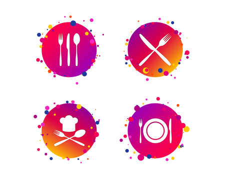 Plate dish with forks and knifes icons. Chief hat sign. Crosswise cutlery symbol. Dining etiquette. Gradient circle buttons with icons. Random dots design. Vector Banque d'images - 117965993