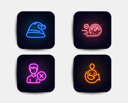 Neon glow lights. Set of Speedometer, Remove account and Santa hat icons. Share sign. Time concept, Delete user, Christmas. Referral person.  Neon icons. Glowing light banners. Vector Illustration
